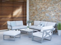 Table basse xenah 70x70x36 gris espace/HPL céramique grise