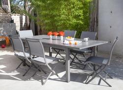 Table turin 172/232x100 100% alu + 6 chaises élégance Alu et textilène