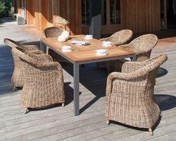 Table Tempo alu / plateau Teck 180X90X74
