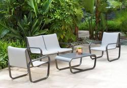 Ensemble FLex Alu et textilène 1 canapé 2 places, 2 fauteuils et une table