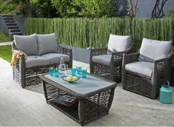Canapé 2 places Cane + table basse + 2 fauteuils Ice