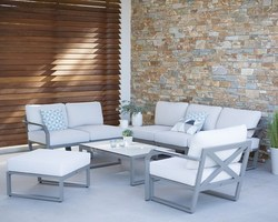 Salon bas Xenah modulable aluminium + coussins déhoussables
