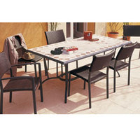 Table aluminium plateau mosaïque travertin, dim.183x96x75cm HEDONE