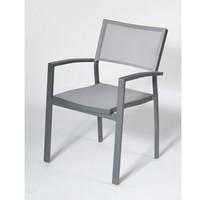 Fauteuil empilable Keneah - aluminium gris / toile grise