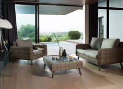 Ensemble Canapé 2 places + 2 fauteuils + table basse 120x80 VIGO Tressé