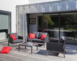 salon bas canapé 2 places + table + 2 sofas Bergen