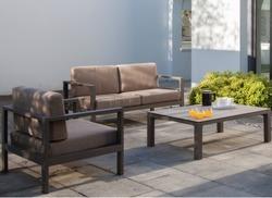 ensemble Castille 100% alu + coussins. Canapé 2 places + 2 fauteuils + table alu / HPL