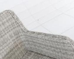 Ensemble Lodrino résine tressée + coussins gris clair/gris anthracite