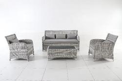 Ensemble Biasca résine tressée + coussins gris clair/gris