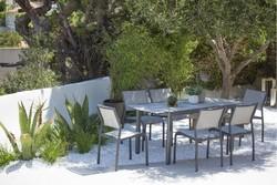 Table extensible TICAO 145/185x75cm aluminium marron / HPL Rouille