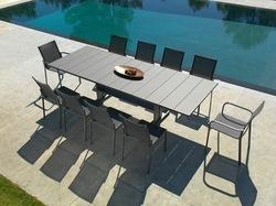 Table Koton 190/285x105 gris espace/HPL noir irisé plateau latté 8/10 personnes